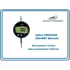 Helios PREISSER DIGI-MET Messuhr 12,5mm mit Ablesung in 0,001mm