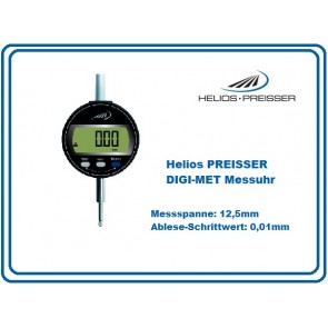 Helios PREISSER DIGI-MET Messuhr 12,5mm mit Ablesung in 0,01mm